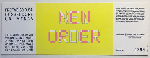 New Order Original Unused Concert Ticket Philipshalle Düsseldorf 30th Mar 1984