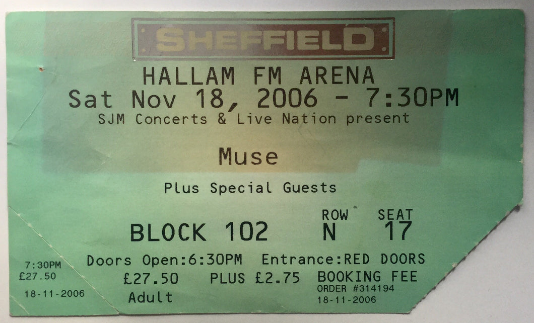 Muse Original Used Concert Ticket Hallam FM Arena Sheffield 18th Nov 2006