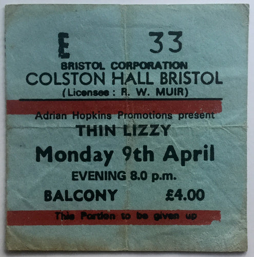 Thin Lizzy Original Used Concert Ticket Colston Hall Bristol 9th Apr 1979