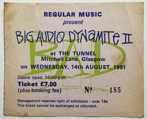 Big Audio Dynamite Original Used Concert Ticket The Tunnel Glasgow 14th Aug 1991