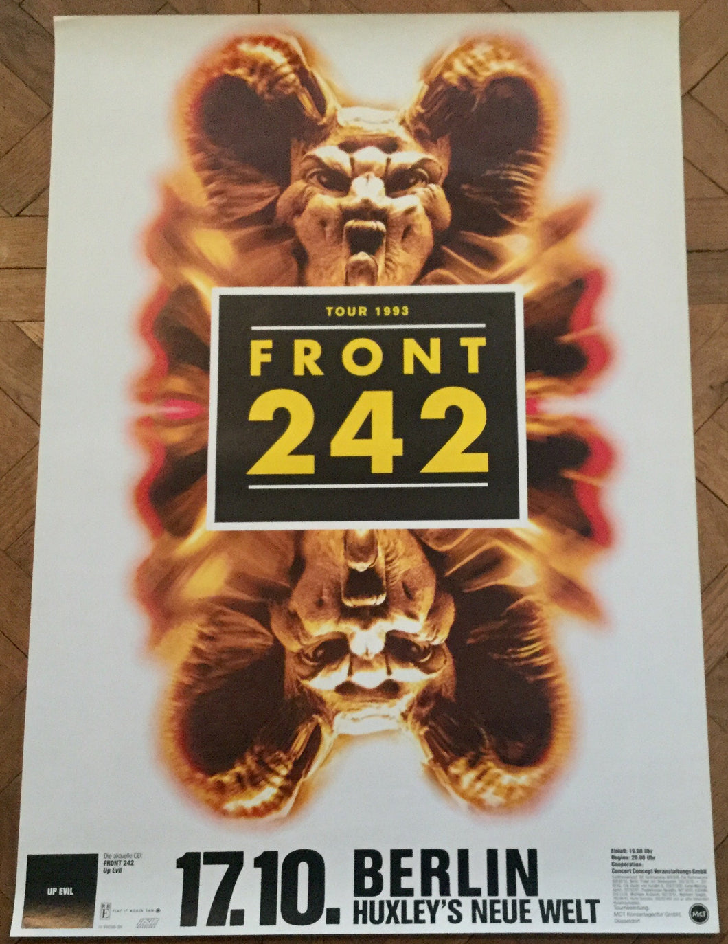 Front 242 Original Concert Tour Gig Poster Huxley's Neue Welt 17th Oct 1993