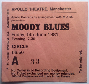 Moody Blues Original Used Concert Ticket Apollo Theatre Manchester 5th June 1981