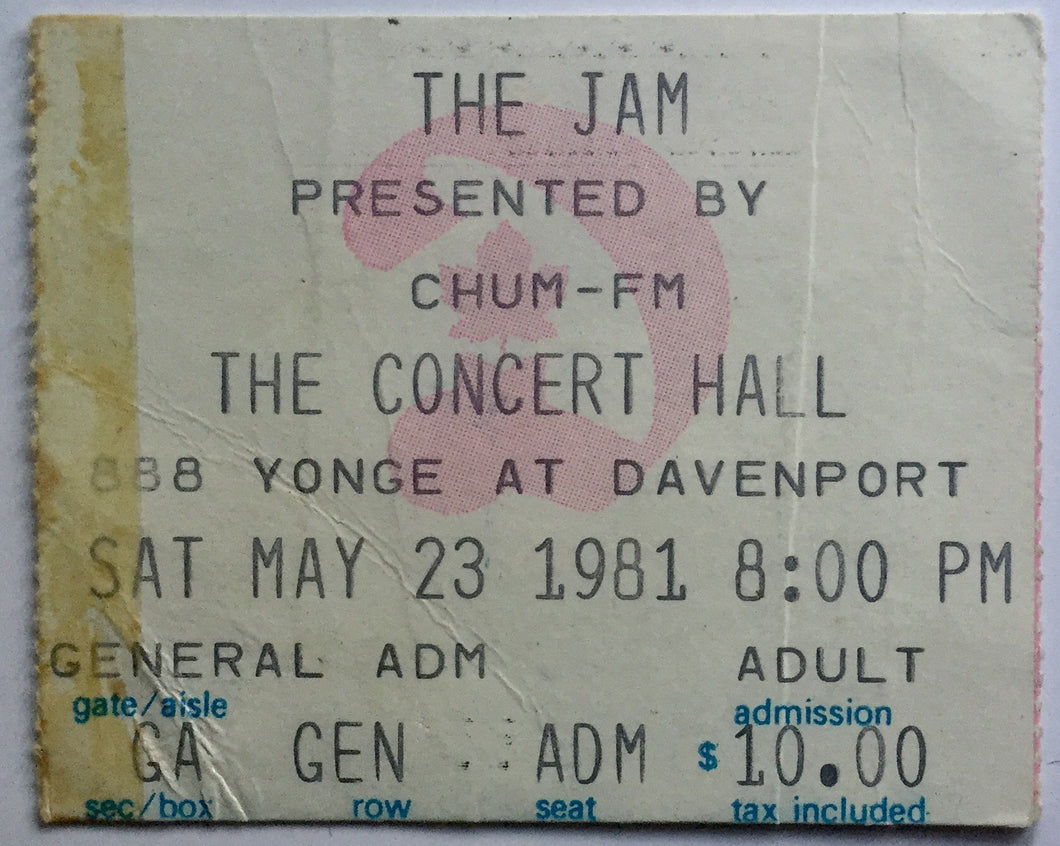 Jam Original Used Concert Ticket Masonic Concert Hall Toronto 23rd May 1981