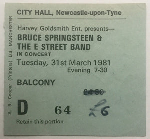Bruce Springsteen Original Used Concert Ticket City Hall Newcastle 31st March 1981