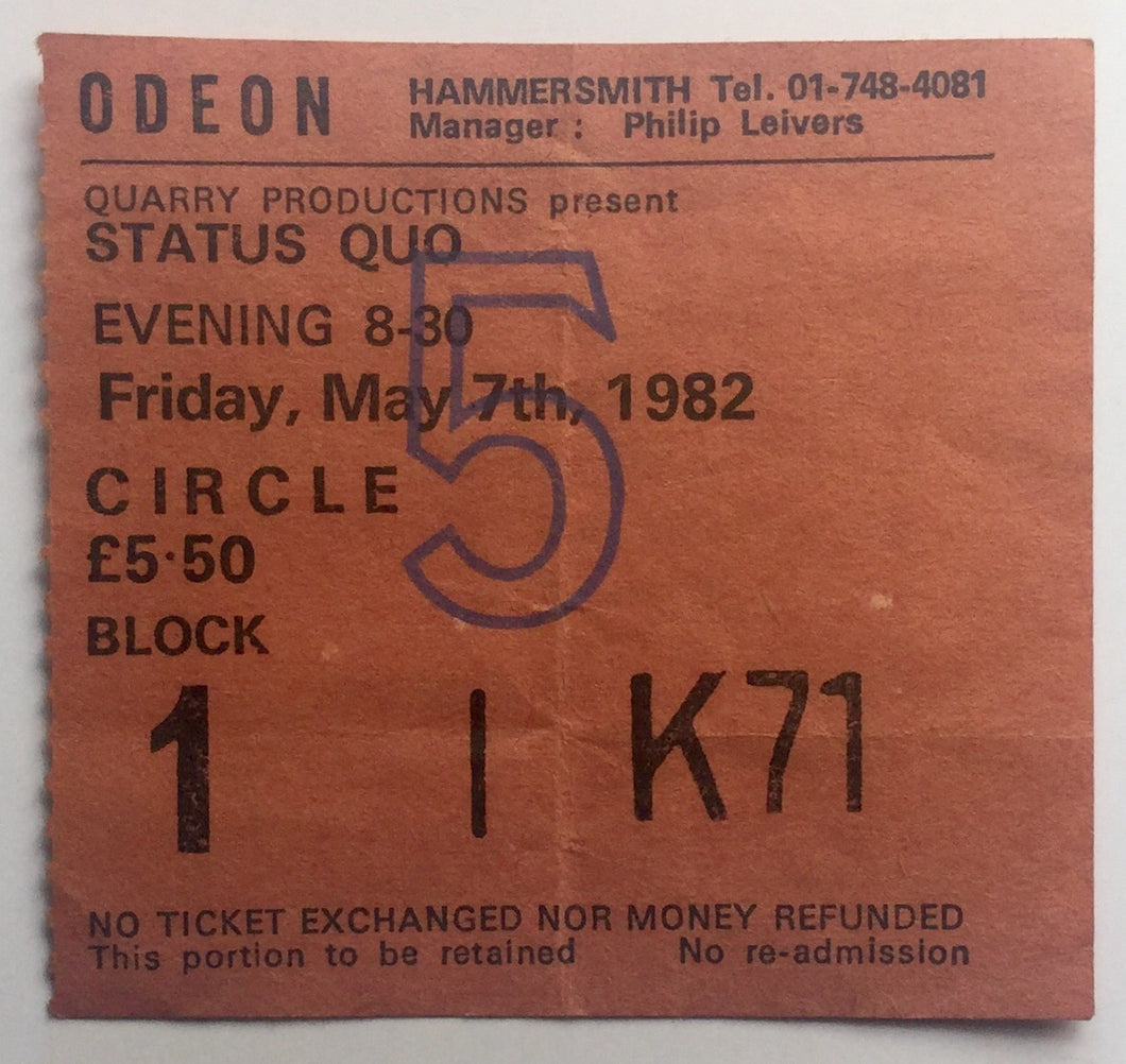 Status Quo Original Used Concert Ticket Hammersmith Odeon London 7th May 1982