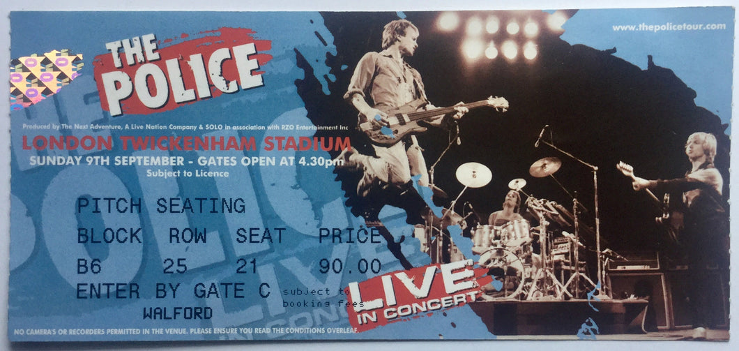 Police Original Used Concert Ticket Twickenham Stadium London 9th Sept 2007