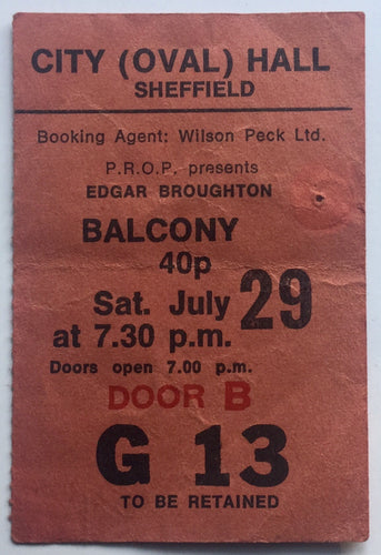 Edgar Broughton Original Used Concert Ticket City Hall Sheffield 29th July 1972