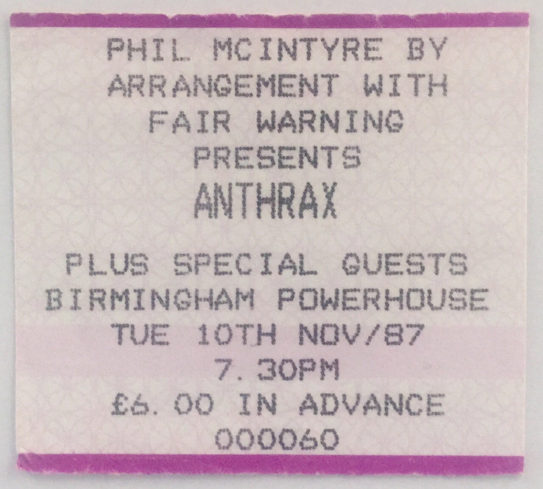 Anthrax Original Used Concert Ticket Birmingham Powerhouse 10th Nov 1987