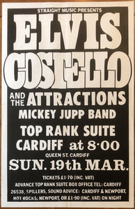 Elvis Costello Original Concert Gig Poster Top Rank Suite Cardiff 19th March 1978