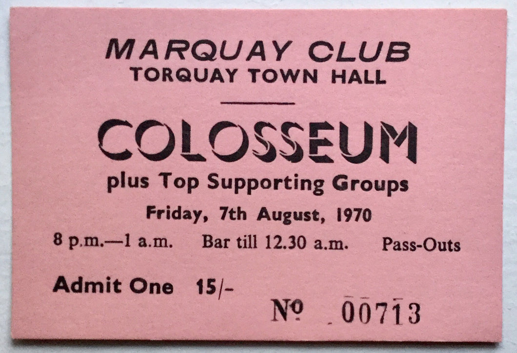Colosseum Original Concert Ticket Marquay Club Town Hall Torquay 1970