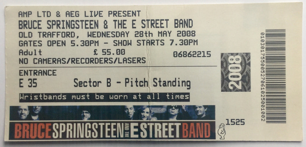 Bruce Springsteen Original Used Concert Ticket Old Trafford Manchester 28th May 2008