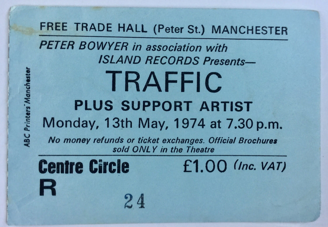 Traffic Original Used Concert Ticket Free Trade Hall Manchester 13th May 1974