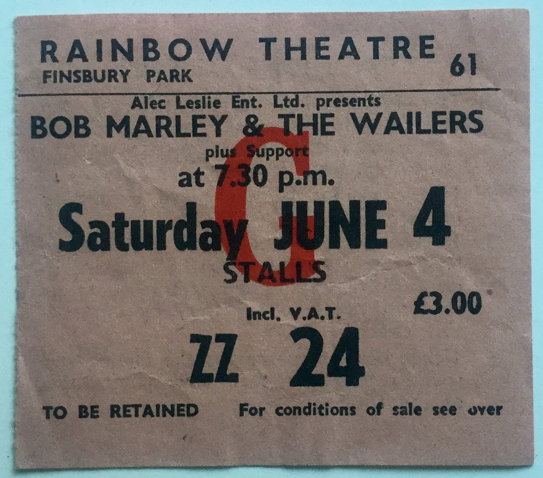 Bob Marley Original Concert Ticket Rainbow Theatre London 4th June 1977