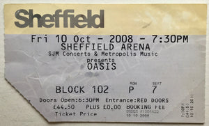 Oasis Original Used Concert Ticket Sheffield Arena 10th Oct 2008