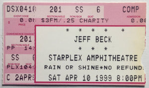 Jeff Beck Original Used Concert Ticket Starplex Amphitheatre Dallas 10th Apr 1999