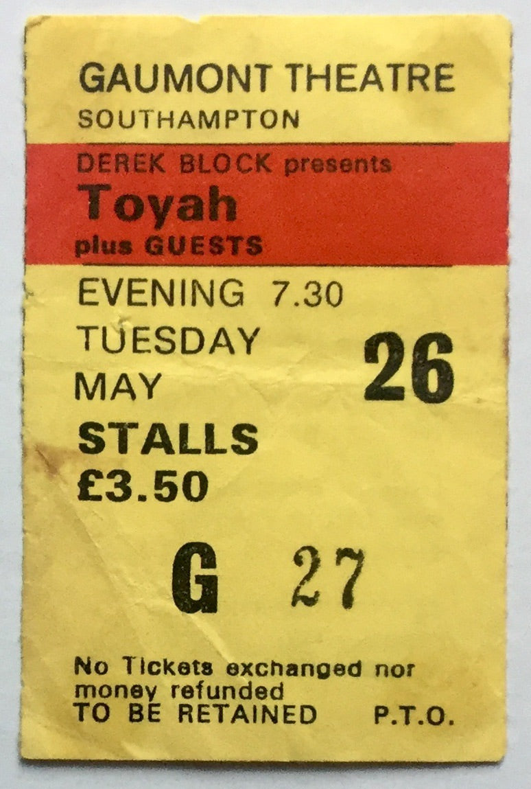Toyah Original Used Concert Ticket Gaumont Theatre Southampton 26th May 1981