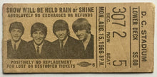 Load image into Gallery viewer, Beatles Original Used Concert Ticket D.C. Stadium Washington 15th Aug 1966