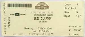 Eric Clapton Original Used Concert Ticket Royal Albert Hall 10th May 2004