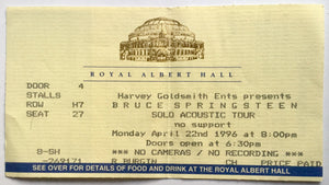 Bruce Springsteen Original Used Concert Ticket Royal Albert Hall London 22nd April 1996