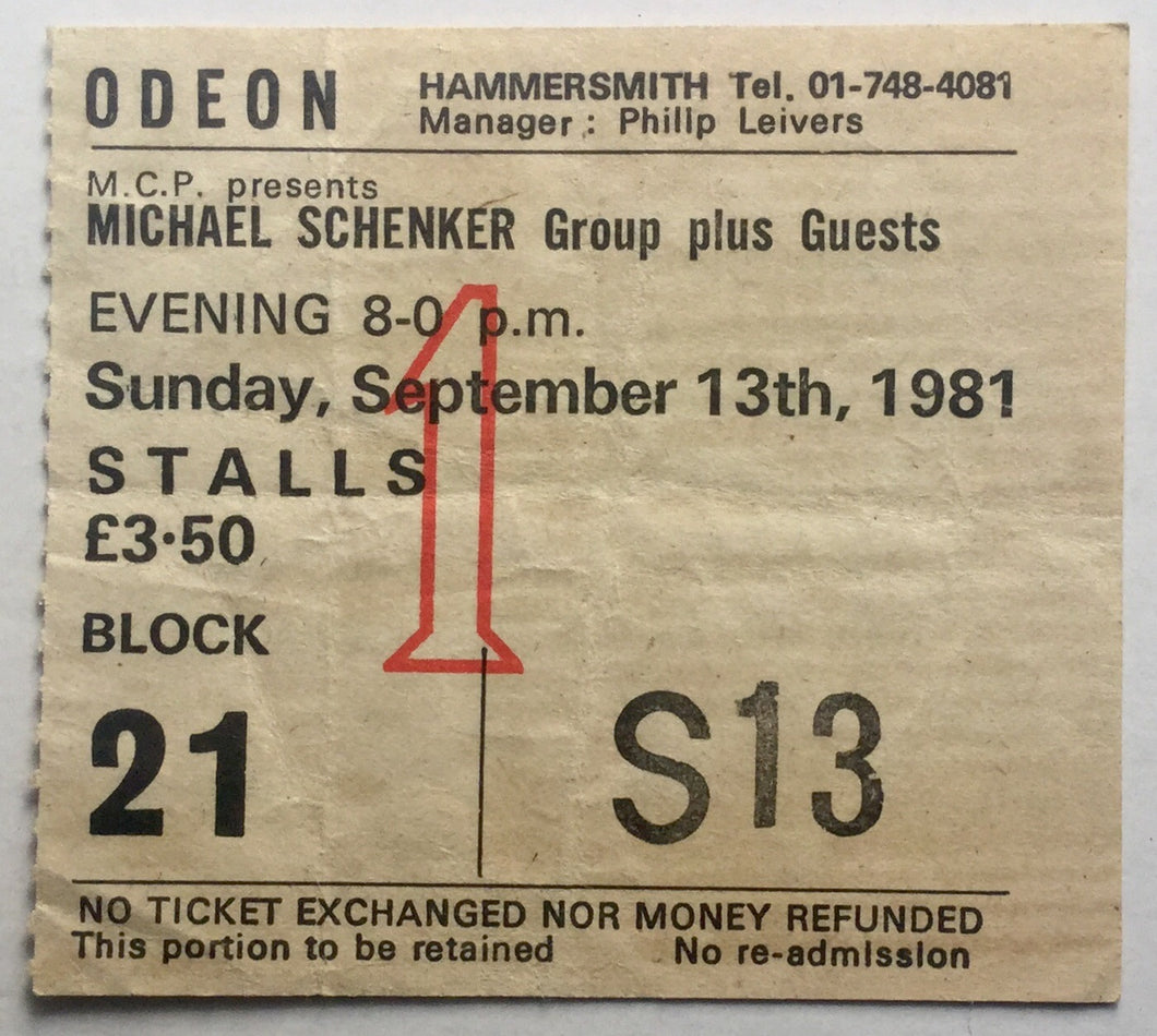 Michael Schenker Group Original Used Concert Ticket Hammersmith Odeon London 13th Sept 1981