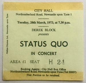 Status Quo Original Used Concert Ticket City Hall Newcastle 20th Mar 1973