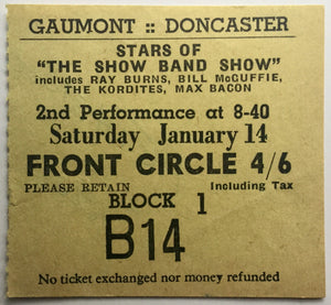 Ray Burns Bill McGuffie Kordites Original Used Concert Ticket Gaumont Doncaster 1956