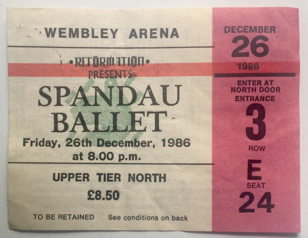 Spandau Ballet Original Used Concert Ticket Wembley Arena, London 26th Dec 1986