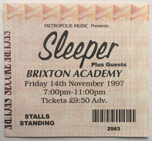 Sleeper Original Used Concert Ticket Brixton Academy London 14th Nov 1997