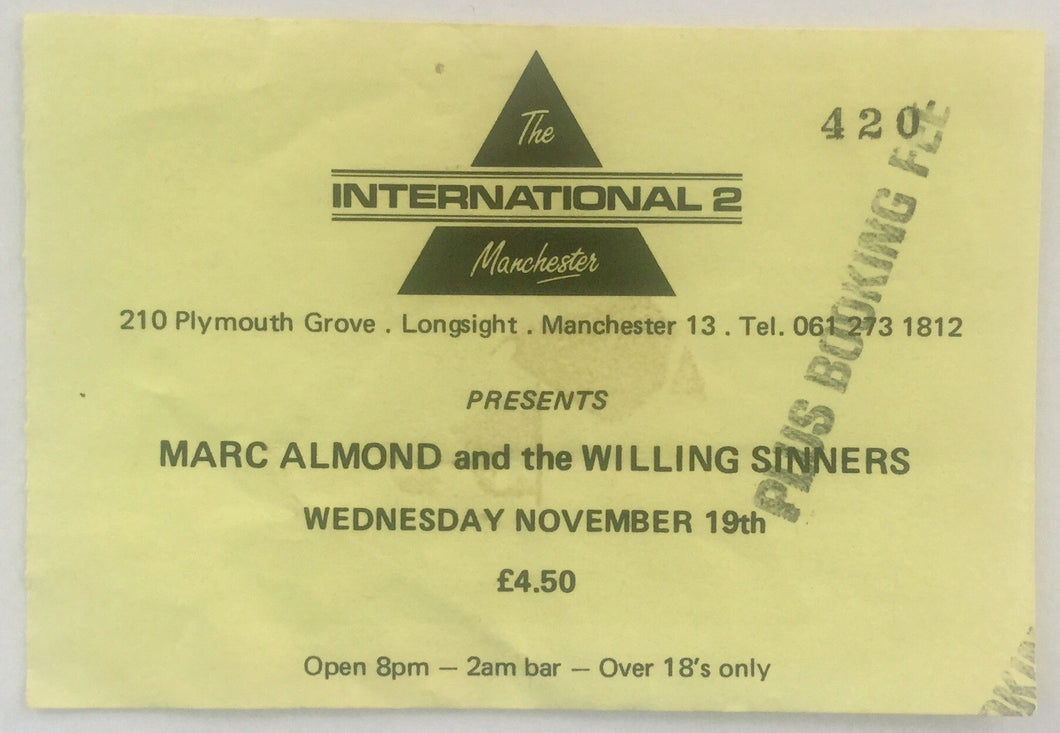 Marc Almond Original Used Concert Ticket International II Manchester 19th Nov 1986