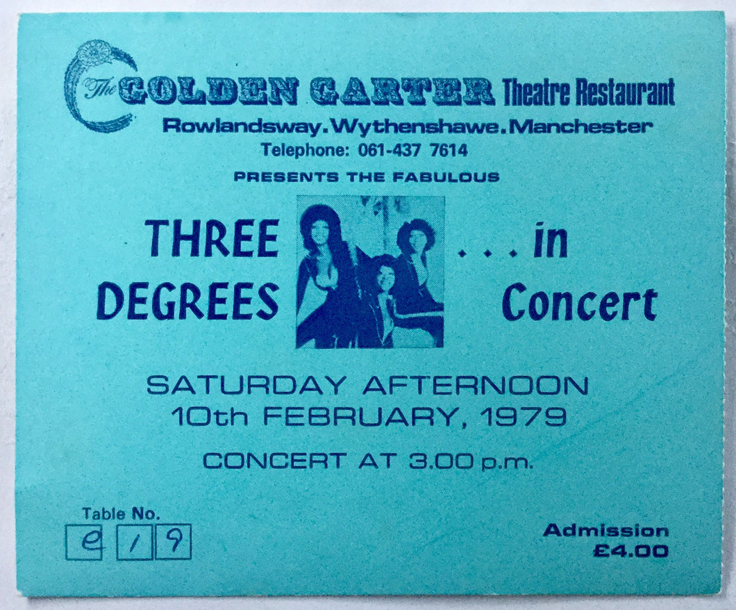 Three Degrees Original Complete Concert Ticket Golden Carter Theatre Manchester 10th Feb 1979
