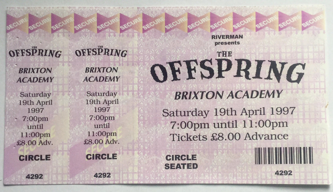 Offspring Original Unused Concert Ticket Brixton Academy London 19th April 1997