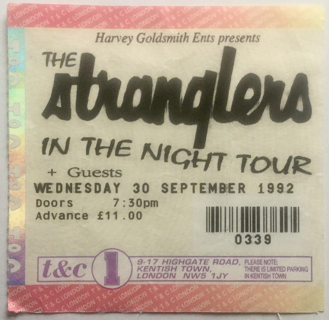 Stranglers Original Used Concert Ticket Town & Country Club London 30th Sept 1992