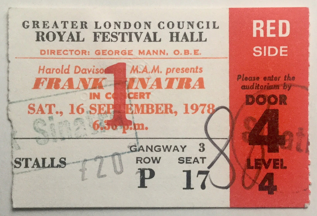 Frank Sinatra Original Used Concert Ticket Royal Festival Hall London 16th Sept 1978