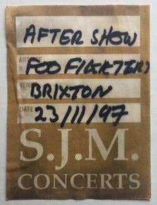 Foo Fighters Original Used Concert Backstage Pass Ticket Brixton Academy London 23rd Nov 1997