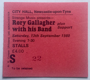 Rory Gallagher Original Concert Ticket City Hall Newcastle 13th Sept 1980