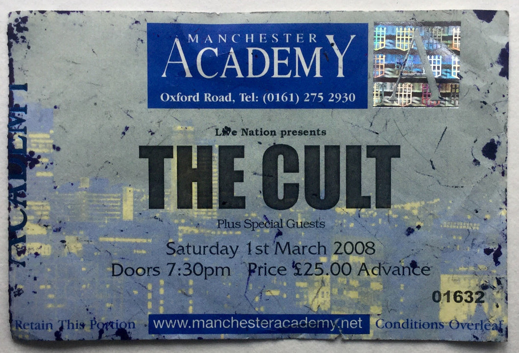Cult Original Used Concert Ticket Manchester Academy 1st Mar 2008