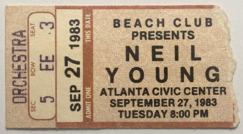Neil Young Original Used Concert Ticket Atlanta Civic Center 27th Sept 1983