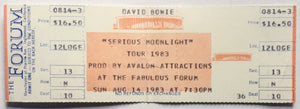 David Bowie Original Unsed Concert Ticket The Forum Los Angeles 14th Aug 1983