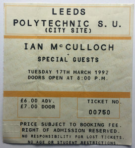 Echo & The Bunnymen Ian McCulloch Original Used Concert Ticket Leeds Polytechnic 17th Mar 1992