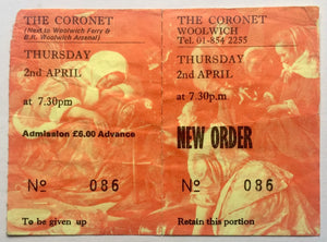 New Order Original Unused Concert Ticket Woolwich London 2nd Apr 1987