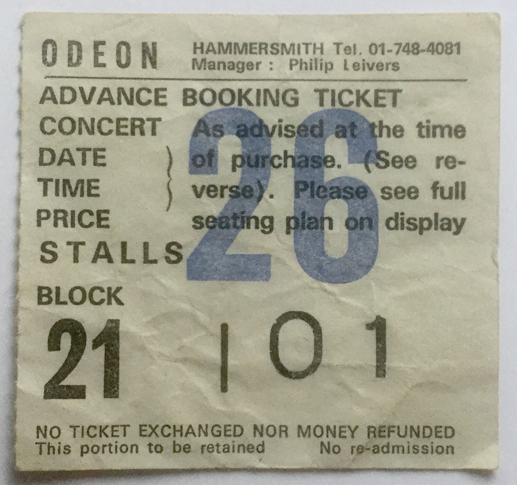 Stranglers Original Used Concert Ticket Hammersmith Odeon London 8th Feb 1982