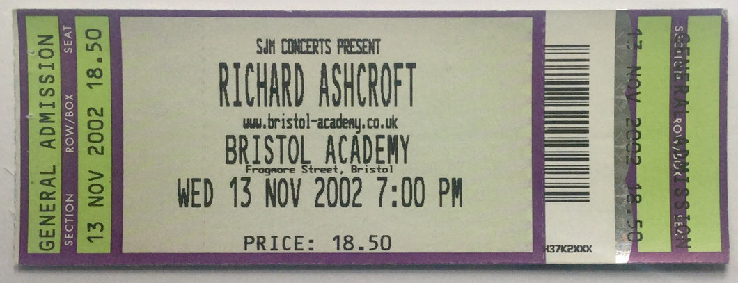 Richard Ashcroft Original Unused Concert Ticket Bristol Academy 13th Nov 2002