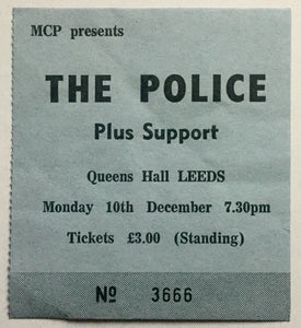 Police Original Used Concert Ticket Queens Hall Leeds 19th Dec 1979