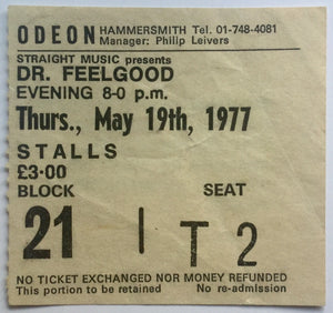 Dr Feelgood Original Used Concert Ticket Hammersmith Odeon London 19th May 1977