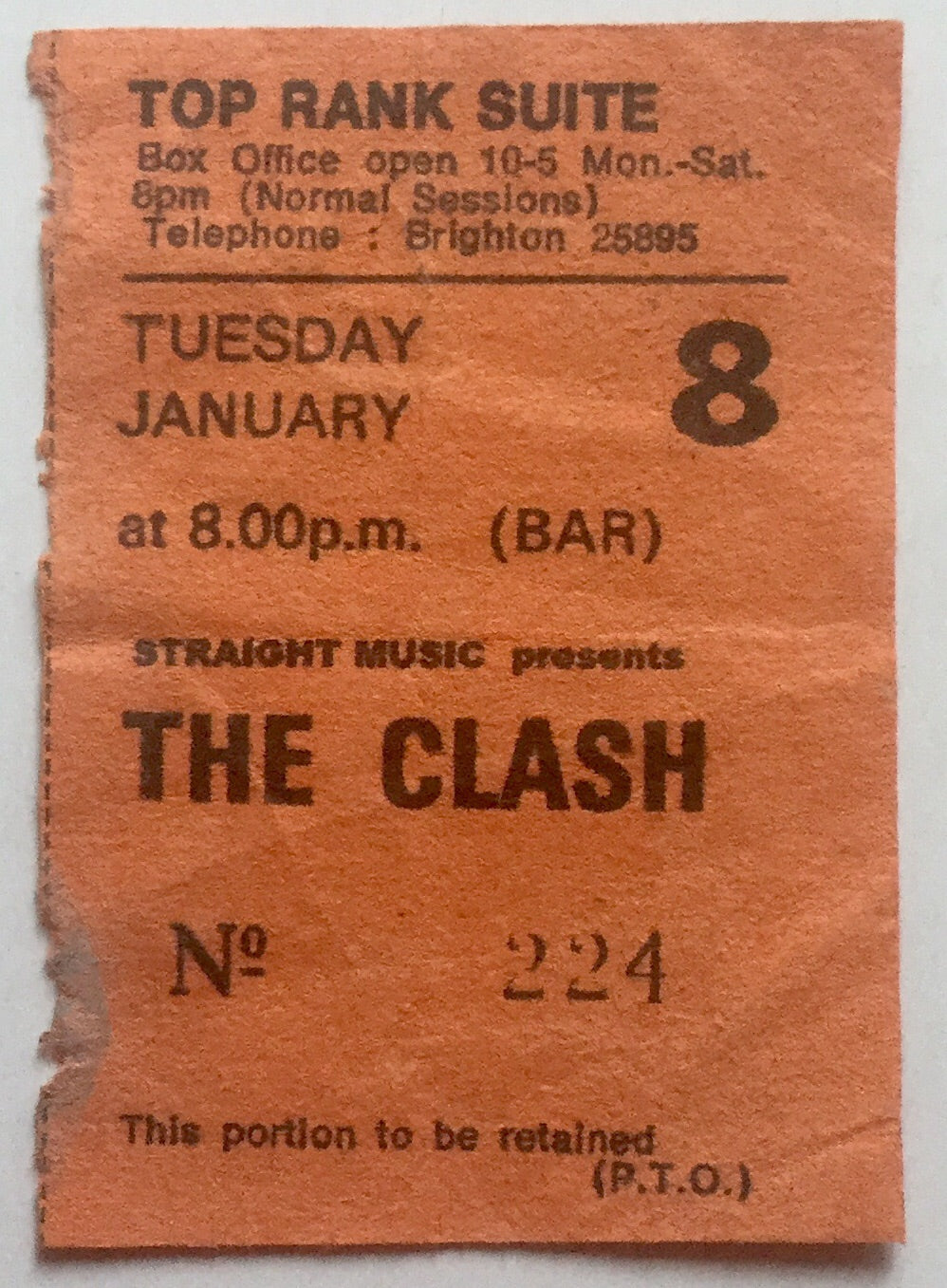 Clash Original Used Concert Ticket Top Rank Suite Brighton 8th Jan 1980