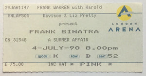 Frank Sinatra Original Used Concert Ticket London Arena 4th July 1990