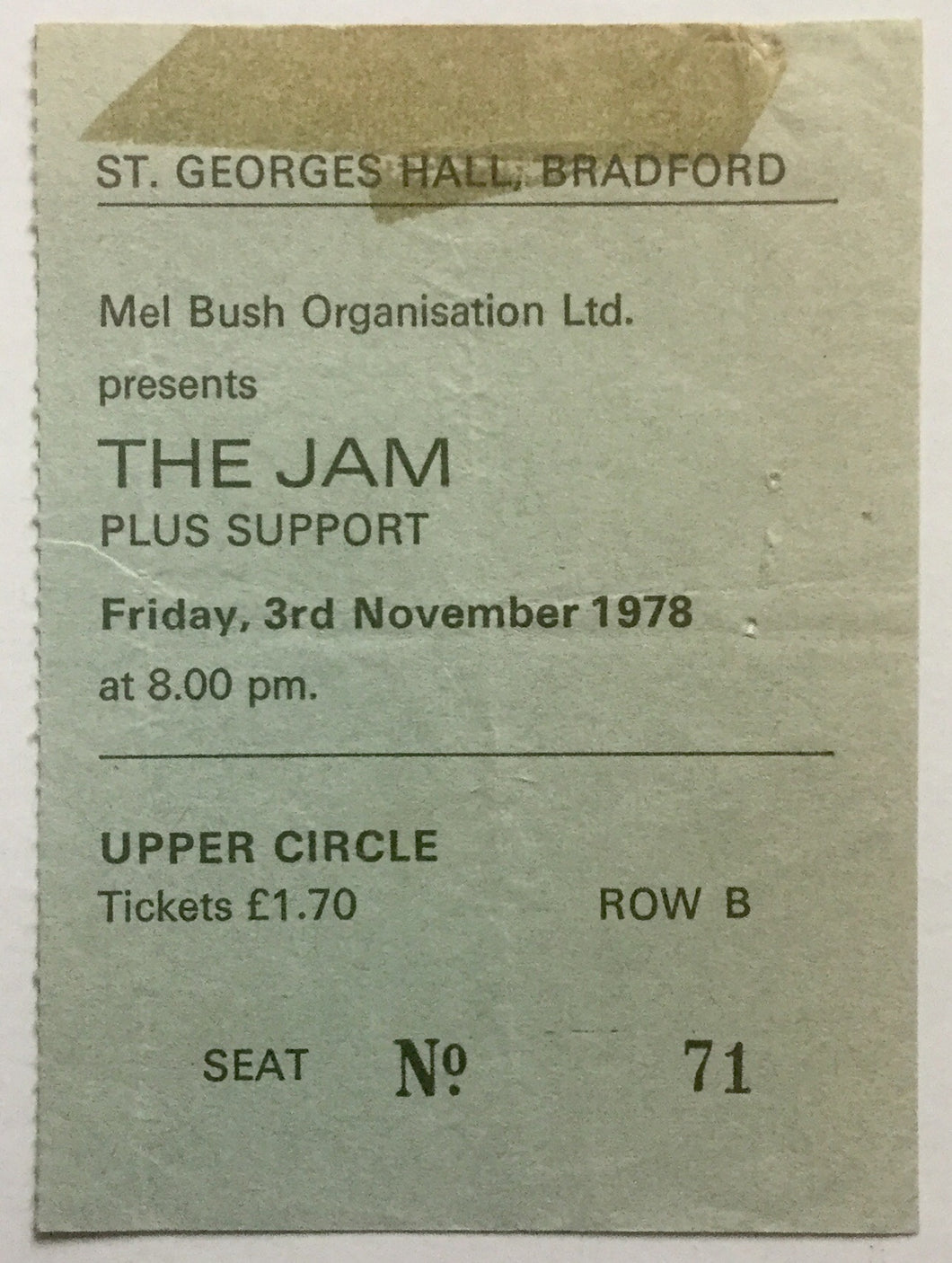 Jam Original Used Concert Ticket St George's Hall Bradford 3rd Nov 1978