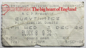 Eurythmics Original Used Concert Ticket NEC Birmingham 3rd Dec 1986