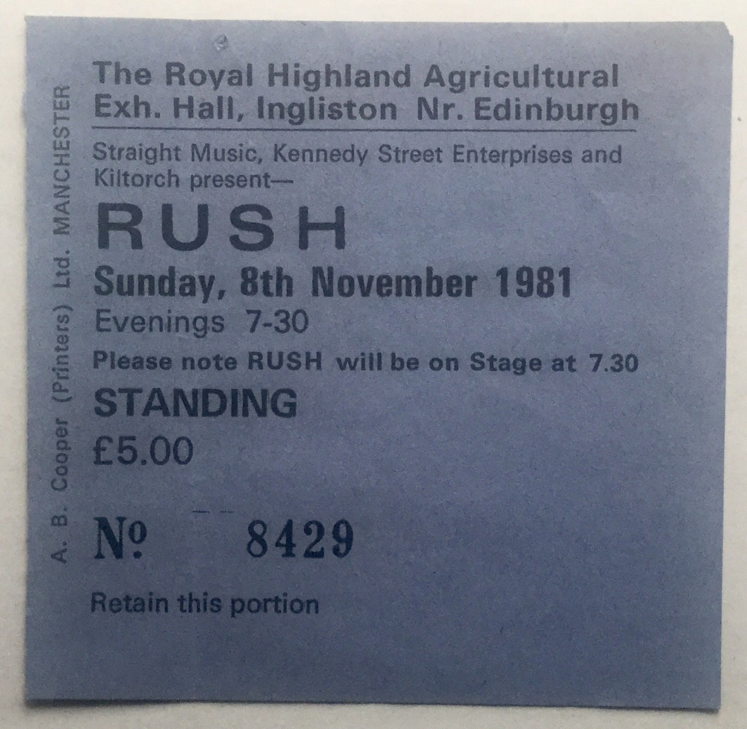 Rush Original Used Concert Ticket Edinburgh 8th Nov 1981