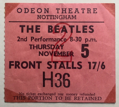 Beatles Original Used Concert Ticket Odeon Theatre Nottingham 5th Nov 1964